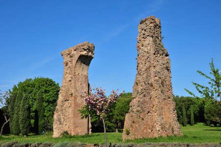 monument historical monument: Frejus; France  the ruin of the roman aqueduct