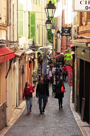 maritimes: Antibes, France - april 15 2016 : the picturesque old city in spring