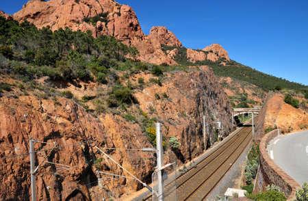 mimose: Saint Raphael, France  the railway line of Esterel Massif