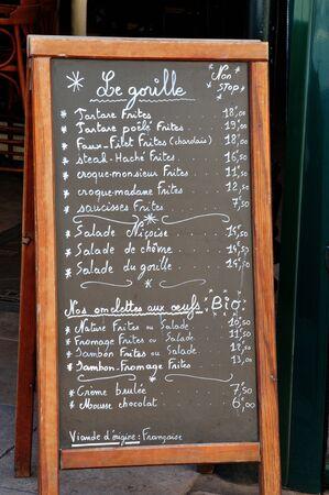 tropez: Saint Tropez; France - april 18 2016 : restaurant menu Editorial