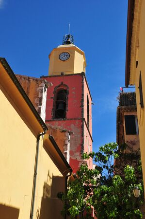 saint tropez: Saint Tropez; France - april 18 2016 : the bell tower og Notre Dame church Stock Photo