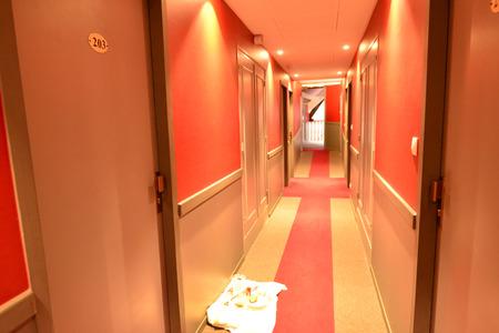 hotel hallway: Dijon, France - april 22 2016 : hallway in an hotel