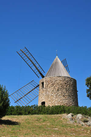 wind mill: Grimaud, France - the picturesque historical wind mill