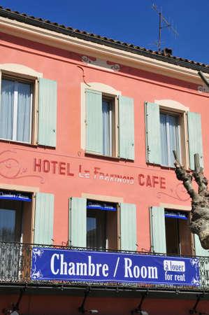 garde: La Garde Freinet, France - april 16 2016 : hotel in the picturesque village in spring