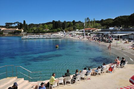 maritimes: Antibes, France - april 15 2016 : seaside in the picturesque Juan les Pins district in spring