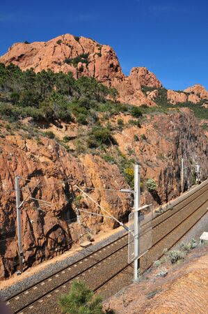 massif: the railway line of Esterel Massif in Saint Raphael, France