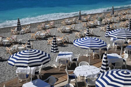 gastronomic: Nice, France - april 19 2016 :  gastronomic restaurant on the beach Editorial