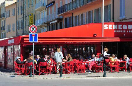 saint tropez: Saint Tropez; France - april 18 2016 : bar restaurant