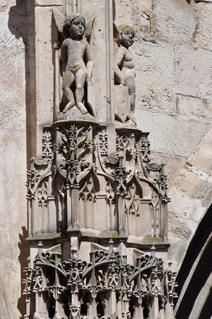 collegiate: Poissy, France - august 6 2016 : the historical collegiate church where the king Saint Louis was baptised