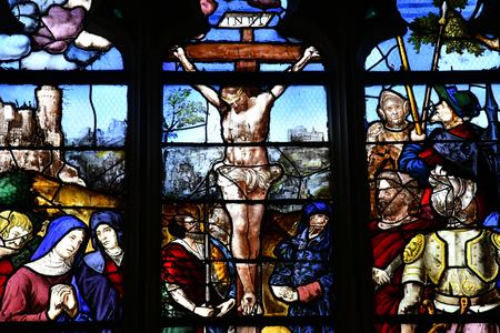 saint martin: Triel sur Seine, France - june 12 2016 : Jesus on a window in Saint Martin church