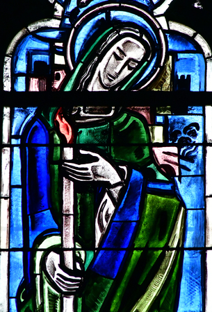 collegiate: Poissy, France - august 6 2016 : stained glass window of the historical collegiate church where the king Saint Louis was baptised