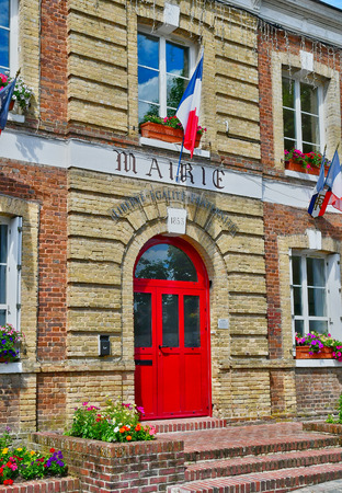 city hall: Jumieges, France - june 22 2016 : the city hall