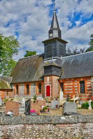 bois: Bois Heroult, France - june 23 2016 : the Notre Dame church Editorial