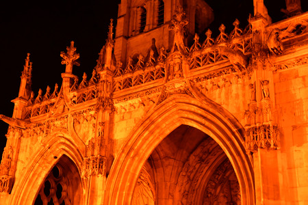 collegiate: Poissy; France - august 20 2016 : the picturesque collegiate church in the night