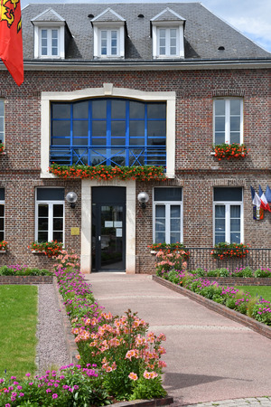city hall: Fontaine le Bourg, France - june 23 2016 : the city hall