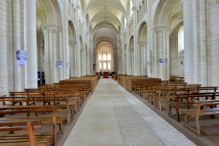 touristy: Saint Martin de Boscherville, France - june 22 2016 : the Saint Georges abbey in Seine Maritime