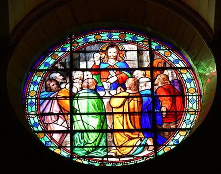 're: Saint Martin de Re, France - september 25 2016 : stained glass window in Saint Martin church