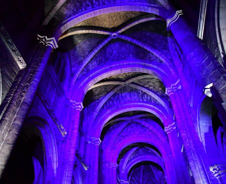 touristy: Poissy; France - august 20 2016 : sound and light show in the collegiate church