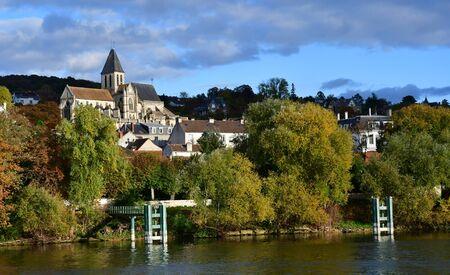 Triel sur Seine; France - november 05 2016 : the Seine riverside Editorial