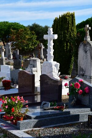 Loix, France - september 26 2016 : the cemetery Editorial