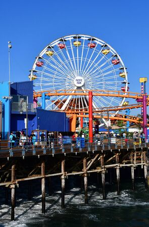 Santa Monica, California, USA - july 15 2016 : the picturesque pier in summer Editorial
