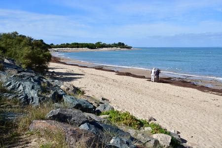 Les Portes en Re, France - september 26 2016 : the Trousse Chemise beach Stock Photo