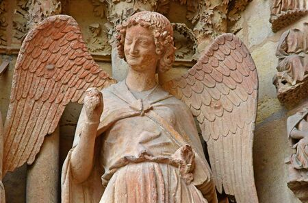 Reims, France - july 25 2016 : the smiling angel of the Notre Dame cathedral where the kings of France were crowned