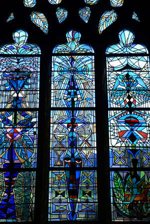 touristy: Metz, France - july 25 2016 : the picturesque Saint Maximin church window Editorial