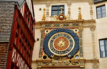 touristy: Rouen, France - november 26 2016 : Gros Horloge street in the historical city center in winter Editorial