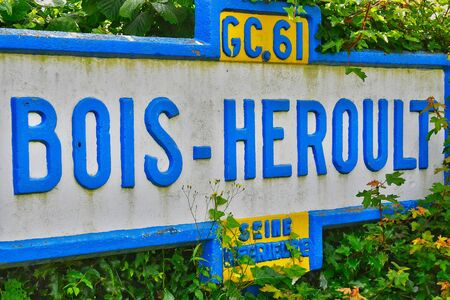 bois: Bois Heroult, France - june 23 2016 : an old sign