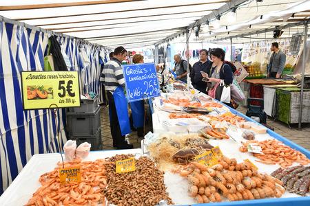Saint Germain en Laye, France - june 12 2016 : the picturesque market every sunday