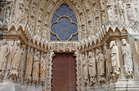 Reims, France - july 25 2016 : the Notre Dame cathedral where the kings of France were crowned
