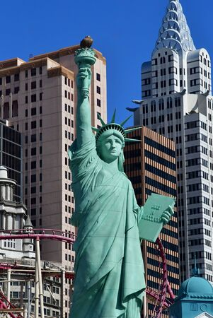 touristy: Las Vegas, USA - july 11 2016 : the Liberty Statue on the Strip