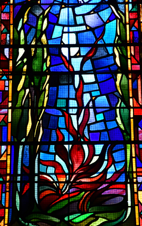 Charleval, France - september 7 2016 : stained glass window in the Saint Denis church