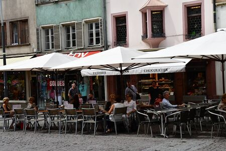 Strasbourg, France - july 22 2016 : restaurant in the picturesque city center in summer