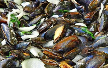white wine: close up of marinieres mussels, a French recipe with shallot and white wine