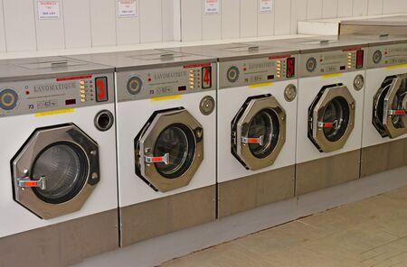 laundrette: Metz, France - july 25 2016 : washing machines in a laundrette