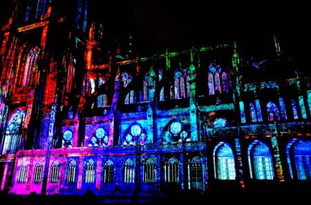 grand son: Strasbourg; France - july 24 2016 : sound and light of the Notre Dame cathedral