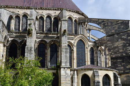 touristy: Reims, France - july 26 2016 : the Saint Remi basilica Stock Photo