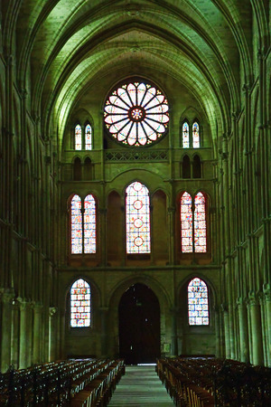 26: Reims, France - july 26 2016 : stained glass window of the Saint Remi basilica Editorial