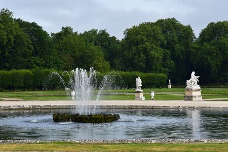 picturesque: Chantilly, France - august 14 2016 : park of the castle of Chantilly