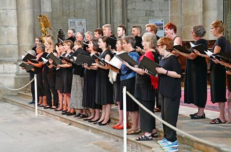 Reims, France - july 25 2016 : Canadian choral in the Notre Dame cathedral Editorial
