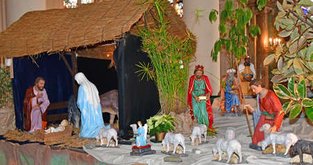saint martin: Triel sur Seine, France - december 28 2016 : nativity scene in the historical Saint Martin church Editorial