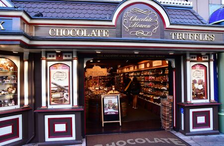 San Francisco; USA - july 13 2016 : a choclate shop in the pier at night Editorial