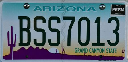 numberplate: Arizona, USA - july 8 2016 : close up of a numberplate in Page