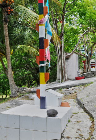 Port Louis, Guadeloupe, France - may 10 2010 : an indian temple in a forest