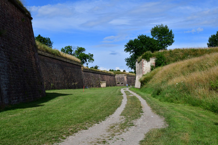touristy: Neuf Brisach, France - july 23 2016 : the fortification in summer
