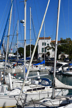 saint martin: Saint Martin de Re, France - september 25 2016 : the picturesque village and boat in the port