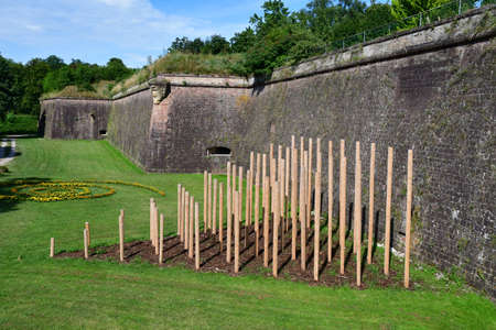 Neuf Brisach, France - july 23 2016 : exhibition  in the fortification in summer