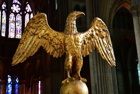 Reims, France - july 25 2016 : lectern in the Notre Dame cathedral Editorial